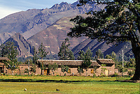 Peru, Yucay.  Agricultural Terraces on Hills behind the Town.