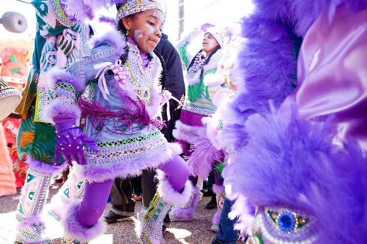The Fi Yi Yi Mardi Gras Indians dance, in the Treme neighborhood of New Orleans on Mardi Gras day, February 16, 2010.
