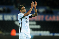 Kyle Naughton of Swansea City applauds the fans at the final whistle during the Sky Bet Championship match between Swansea City and Millwall at the Liberty Stadium in Swansea, Wales, UK. Saturday 23rd November 2019