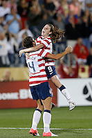 Commerce City, Colorado - Wednesday September 19, 2012; The US WNT defeated the National team of Australia 6-2 during an International friendly game at Dick's Sporting Goods Park.  Heather O'Reilly (9) of the USWNT celebrates her goal against Australia.