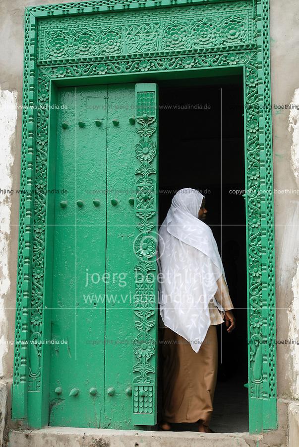 Tanzania, island Zanzibar, Stonetown, carved wooden door