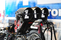 Mar. 9, 2012; Gainesville, FL, USA; Detailed view of the injector scoop on the engine of NHRA top fuel dragster driver T.J. Zizzo during qualifying for the Gatornationals at Auto Plus Raceway at Gainesville. Mandatory Credit: Mark J. Rebilas-
