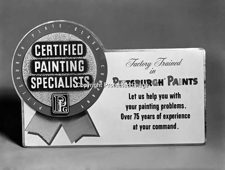 Client: Pittsburgh Plate Glass<br /> Ad Agency: Ketchum, MacLeod & Grove<br /> Contact: <br /> Product: Pittsburgh Paints<br /> Location: Brady Stewart Studio, 725 Liberty Avenue Pittsburgh<br /> Studio photography of the PPG Certified Paint Store Plaque.<br /> <br /> This plaque was in all of the Pittsburgh Paint stores to highlight the training provided to each employee waiting on them.