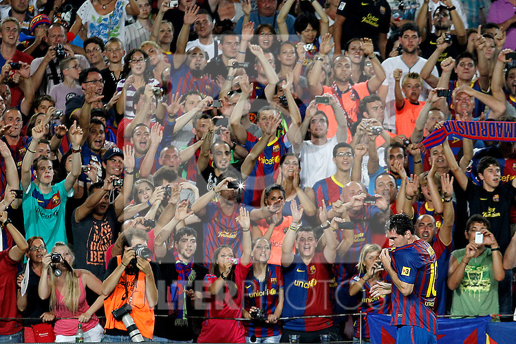 FC Barcelona's Leo Messi celebrate goal during Spanish Supercup 2nd match.August 17,2011. (ALTERPHOTOS/Acero)