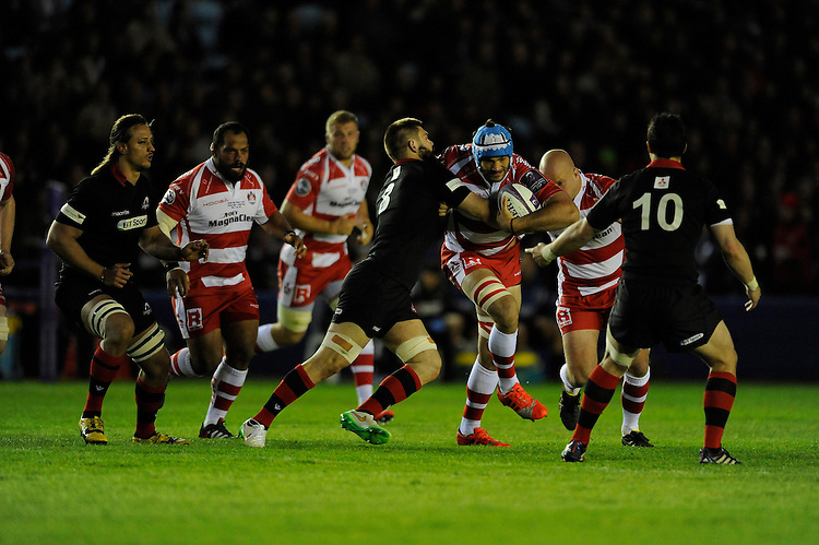 Mariano Galarza of Gloucester Rugby charges upfield into Cornell Du Preez of Edinburgh Rugby