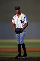 Tampa Yankees starting pitcher Dillon Tate (22) gets ready to deliver a pitch during a game against the Palm Beach Cardinals on July 25, 2017 at George M. Steinbrenner Field in Tampa, Florida.  Tampa defeated Palm beach 7-6.  (Mike Janes/Four Seam Images)