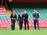 Monday 3 November 2014<br /> Pictured: WRU Chief Executive, Roger Lewis, Deputy Minister of Culture, Sport and Tourism, Ken Skates, Welsh International, Mike Phillips, Head Groundsman, Lee Evans<br /> Re: WRU unveils new hybrid pitch at the Millennium Stadium, Cardiff.