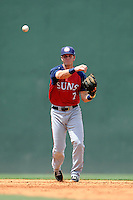 Shortstop David Masters (7) of the Hagerstown Suns, fields a ground ball in a game against the Greenville Drive on May 12, 2015, at Fluor Field at the West End in Greenville, South Carolina. Greenville won, 4-0. (Tom Priddy/Four Seam Images)