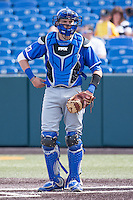Taylor Steen (4) in action during the NCAA matchup between the Indiana State Sycamores and the Wichita State Shockers at Eck Stadium on April 6th, 2012 in Wichita, Kansas. The Shockers defeated the Sycamores 11-3. (William Purnell/Four Seam Images)