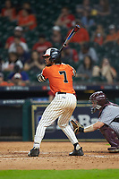 Andrew Fregia (7) of the Sam Houston State Bearkats at bat against the Mississippi State Bulldogs during game eight of the 2018 Shriners Hospitals for Children College Classic at Minute Maid Park on March 3, 2018 in Houston, Texas. The Bulldogs defeated the Bearkats 4-1.  (Brian Westerholt/Four Seam Images)