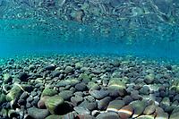intertidal zone showing volcanic boulder shoreline, Bali, Indonesia ( S. Pacific Ocean )