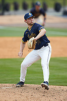 North Carolina A&T Aggies relief pitcher Justin O'Neal (14) in action against the North Carolina Central Eagles at Durham Athletic Park on April 10, 2021 in Durham, North Carolina. (Brian Westerholt/Four Seam Images)