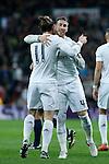 Real Madrid´s Gareth Bale celebrates a goal with Sergio Ramos during 2015/16 La Liga match between Real Madrid and Deportivo de la Coruna at Santiago Bernabeu stadium in Madrid, Spain. January 09, 2015. (ALTERPHOTOS/Victor Blanco)