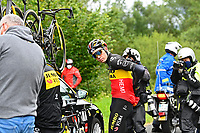July 13th 2021, Saint-Gaudens, Haute-Garonne, France: VAN AERT Wout (BEL) of JUMBO-VISMA, riders get redressed during stage 16 of the 108th edition of the 2021 Tour de France cycling race, a stage of 169 kms between El Pas de la Casa and Saint-Gaudens.