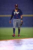 Lehigh Valley IronPigs center fielder Darnell Sweeney (24) walks off the field for a rain delay during a game against the Buffalo Bisons on July 9, 2016 at Coca-Cola Field in Buffalo, New York.  Lehigh Valley defeated Buffalo 9-1 in a rain shortened game.  (Mike Janes/Four Seam Images)