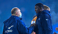 1st May 2021; Recreation Ground, Bath, Somerset, England; European Challenge Cup Rugby, Bath versus Montpellier; Yacouba Camara with Philippe Saint-Andre Director of Rugby for Montpellier after the match