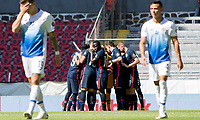 GUADALAJARA, MEXICO - MARCH 18: U-23 USMNT huddle before a game between Costa Rica and USMNT U-23 at Estadio Jalisco on March 18, 2021 in Guadalajara, Mexico.