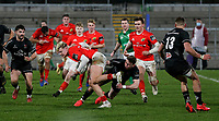 12 December 2020; Alan Flannery of Munster is tackled by Bruce Houston of Ulster during the A series inter-pros series 20-21 between Ulster A and Munster A at Kingspan Stadium, Ravenhill Park, Belfast, Northern Ireland. Photo by John Dickson/Dicksondigital