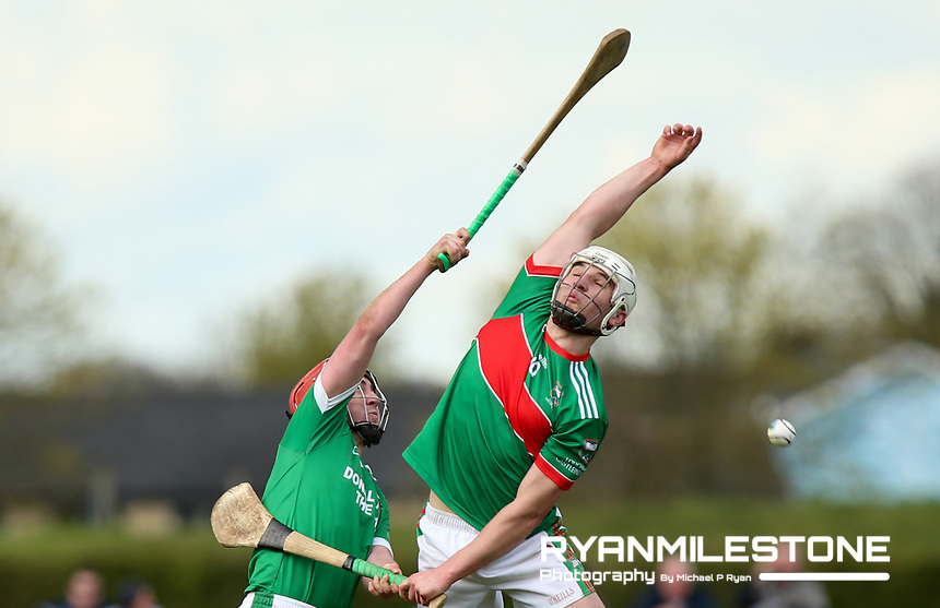 Ciaran Connolly of Loughmore/Castleiney in action against  Robbie Long of Drom Inch during the Centenary Agri Mid Senior Hurling Championship Quarter Final between Loughmore/Castleiney and Drom Inch on Saturday 28th April 2018 at Templetuohy, Co Tipperary, Photo By Michael P Ryan