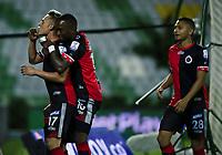 ARMENIA - COLOMBIA, 17-10-2020: Michell Ramos (#17) del Cúcuta celebra después de anotar el primer gol de su equipo durante partido entre Cúcuta Deportivo y Envigado F.C. por la fecha 15 de la Liga BetPlay DIMAYOR 2020 jugado en el estadio Centenario de la ciudad de Armenia. / Michell Ramos (#17) of Cucuta celebrates after scoring the first goal of his team during match between Cucuta Deportivo and Envigado F.C. for the date 15 as part of BetPlay DIMAYOR League 2020 played at Centenario stadium in Armenia city. Photo: VizzorImage / Ricardo Vejarano / Cont