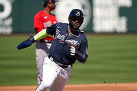 Atlanta Braves Marcell Ozuna (20) running the bases during a Major League Spring Training game against the Boston Red Sox on March 7, 2021 at CoolToday Park in North Port, Florida.  (Mike Janes/Four Seam Images)