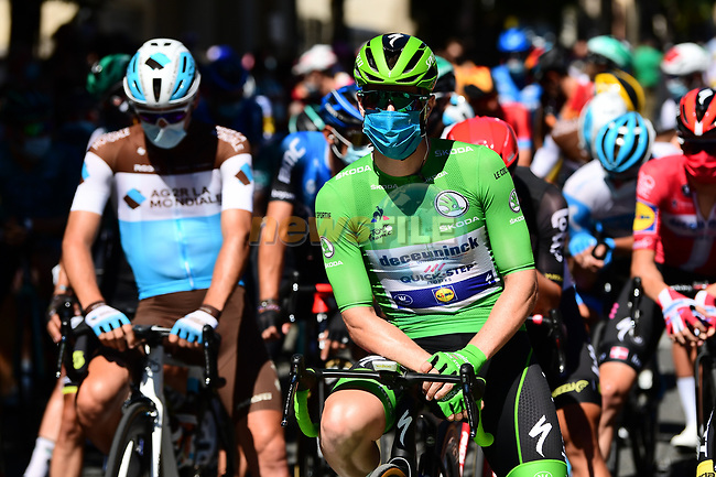 Green Jersey Irish Champion Sam Bennett (IRL) Deceuninck-Quick Step lines up for the start of Stage 7 of Tour de France 2020, running 168km from Millau to Lavaur, France. 4th September 2020.<br /> Picture: ASO/Alex Broadway   Cyclefile<br /> All photos usage must carry mandatory copyright credit (© Cyclefile   ASO/Alex Broadway)
