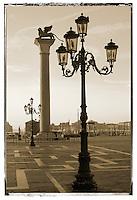 Sunrise at Saint Marks's Square with Lion Pillar - Venice - Italy