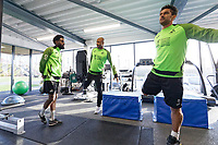 (L-R) Nathan Dyer, Andre Ayew and Wayne Routledge exercise in the gym during the Swansea City Training Session at The Fairwood Training Ground, Swansea, Wales, UK. Wednesday 15 January 2020