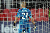 WASHINGTON, DC - MAY 13: Jon Kempin #21 of D.C. United looks at the play during a game between Chicago Fire FC and D.C. United at Audi FIeld on May 13, 2021 in Washington, DC.