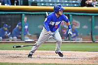 Daniel Muno (12) of the Las Vegas 51s during the game against the Salt Lake Bees at Smith's Ballpark on May 8, 2014 in Salt Lake City, Utah.  (Stephen Smith/Four Seam Images)