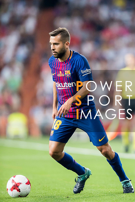 Jordi Alba Ramos of FC Barcelona in action during their Supercopa de Espana Final 2nd Leg match between Real Madrid and FC Barcelona at the Estadio Santiago Bernabeu on 16 August 2017 in Madrid, Spain. Photo by Diego Gonzalez Souto / Power Sport Images