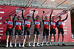 Trek-Segafredo at sign on before the start of Strade Bianche 2019 running 184km from Siena to Siena, held over the white gravel roads of Tuscany, Italy. 9th March 2019.<br /> Picture: Seamus Yore   Cyclefile<br /> <br /> <br /> All photos usage must carry mandatory copyright credit (© Cyclefile   Seamus Yore)
