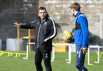 St Johnstone Training….06.10.20     <br />Callum Davidson pictured talking with Murray Davidson during training at McDiarmid Park this morning ahead of tomorrow nights Betfred Cup game against Kelty Hearts.<br />Picture by Graeme Hart.<br />Copyright Perthshire Picture Agency<br />Tel: 01738 623350  Mobile: 07990 594431