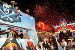 The parade pass by outside  the Mardi Gras Ball at the Tremont House in Galveston Saturday Feb. 13,2010.(Dave Rossman Photo)