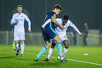 Monday  19 December 2014<br /> Pictured: Nathan Dyer of Swansea City is pushed into touch <br /> Re: Swansea City U23 v Middlesbrough u23 at the Landore Training Facility, Swansea, Wales, UK