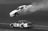 Ernie irvan spins (2) crash accident Pontiac 12th place Motorcraft Quality Parts 500 at Atlanta International Raceway in Hampton , GA on March 19, 1989.  (Photo by Brian Cleary/www.bcpix.com)