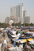 Mumbai, India. Mahalaxmi Dhobi Ghat outdoor open-air laundry, one of Mumbai's main tourist attractions.