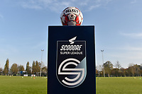 matchball pictured on the Scooore ball holder before a female soccer game between SV Zulte - Waregem and Oud Heverlee Leuven on the sixth matchday of the 2020 - 2021 season of Belgian Scooore Women s SuperLeague , saturday 7 th of November 2020  in Zulte , Belgium . PHOTO SPORTPIX.BE   SPP   DIRK VUYLSTEKE