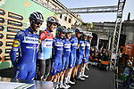 Deceuninck-Quick Step at sign on before the 113th edition of Il Lombardia 2019 running 243km from Bergamo to Como, Italy. 10th Octobre 2019. <br /> Picture: Marco Alpozzi/LaPresse | Cyclefile<br /> <br /> All photos usage must carry mandatory copyright credit (© Cyclefile | LaPresse/Marco Alpozzi)