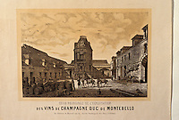 Europe/France/Champagne-Ardenne/51/Marne/Epernay: Le musée municipal - Affichette - Champagne de Montbello fin XIXème