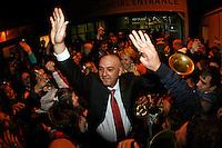 Serbian  supporters celebrate victory of their team in Davis Cup finals, Serbia vs France in Belgrade Arena in Belgrade, Serbia, Sunday, 5. December 2010. (credit & photo: Pedja Milosavljevic/SIPA PRESS)