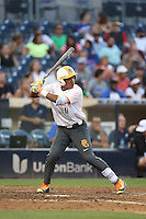 Luis Curbelo (11) of the East team bats during the 2015 Perfect Game All-American Classic at Petco Park on August 16, 2015 in San Diego, California. The East squad defeated the West, 3-1. (Larry Goren/Four Seam Images)