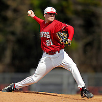 21 April 2007: University of Hartford Hawks' Kyle Perry, a Freshman from Feeding Hills, MA, on the mound against the University of Vermont Catamounts at Historic Centennial Field, in Burlington, Vermont. The Catamounts defeated the Hawks 3-2 to sweep the double-header...Mandatory Photo Credit: Ed Wolfstein Photo