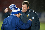 St Johnstone v Hibs…16.03.18…  McDiarmid Park    SPFL<br />Saints manager with one of the disabled supporters that went on the pitch before kick off<br />Picture by Graeme Hart. <br />Copyright Perthshire Picture Agency<br />Tel: 01738 623350  Mobile: 07990 594431