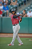 Abiatal Avelino (19) of the Sacramento River Cats on deck against the Salt Lake Bees at Smith's Ballpark on July 18, 2019 in Salt Lake City, Utah. The Bees defeated the River Cats 9-6. (Stephen Smith/Four Seam Images)