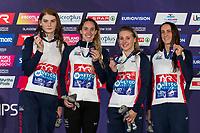 Team GREAT BRITAINBronze Medal<br /> DAVIESGeorgia<br /> O'CONNORSiobhan-Marie<br /> THOMASAlys<br /> ANDERSONFreya<br /> 4x100m Medley Relay Women<br /> Glasgow 09/08/2018<br /> Swimming Tollcross International Swimming Centre<br /> LEN European Aquatics Championships 2018 <br /> European Championships 2018 <br /> Photo Giorgio Scala/ Deepbluemedia /Insidefoto