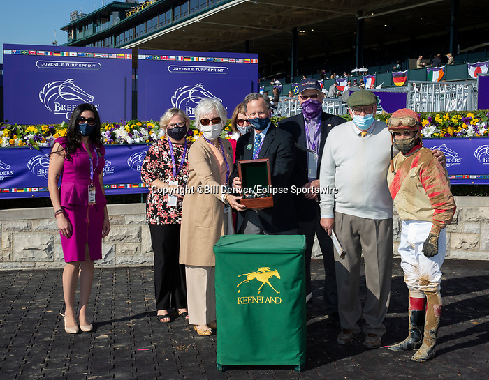 November 6, 2020: Connections for Rocketry, winner of the Thoroughbred Aftercare Alliance Stakes on Breeders' Cup Championship Friday at Keeneland on November 6, 2020: in Lexington, Kentucky. Bill Denver/Eclipse Sportswire/CSM
