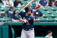 Reno Aces third baseman Kevin Cron (35) batting during a game against the Fresno Grizzlies at Chukchansi Park on April 8, 2019 in Fresno, California. Fresno defeated Reno 7-6. (Zachary Lucy/Four Seam Images)