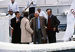GIANNI AGNELLI CON LUCA CORDERO DI MONTEZEMOLO E JAS GAWRONSKI<br /> VARO DEL MORO DI VENEZIA  -  VENEZIA 1990