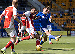 St Johnstone v Fleetwood Town…24.07.21  McDiarmid Park<br />James Hill is charged down by Callum Hendry<br />Picture by Graeme Hart.<br />Copyright Perthshire Picture Agency<br />Tel: 01738 623350  Mobile: 07990 594431